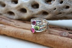 Birthstone Ring. Fairy Tale Ring. Three stone. Sterling Silver. Colorful. Mother's Ring Birthstones.Grandmothers.Grandma. Sisters. Friends on Etsy, $68.00