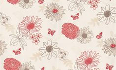 Albany Fashion (432268) - Albany Wallpapers - A pretty random flower and leaf motif design with butterflies in red, brown and beige on an off white background. Other colours available - please request sample for true colour match.