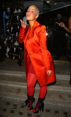 Amber Rose in a Blood Orange Outfit