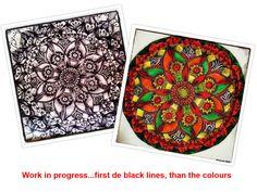 From mandala-idea to mandala-coloursplash. With black pen Bic and colour pencils Bruynzeel. Handmade, no digital manipulation. Good Cause, Colored Pencils, Mandala, Good Things, Colour, Digital, Artwork, Handmade, Stuff To Buy