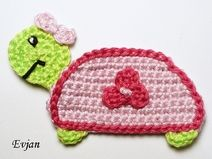 ♥ Schildkrötenmädchen - Häkelapplikation ♥