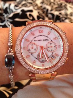❥  ❥   I LOVE LOVE LOVEEEEE   ❥ ❥ $250, Micheal Kors watch. Purchase online -http://www.michaelkors.com/p/Michael-Kors-Michael-Kors-Mid-Size-Rose-Golden-Stainless-Steel-Parker-Chronograph-Glitz-Watch-VIEW-ALL-WATCHES/prod11490003_cat7502__/?index=7&cmCat=cat000000cat145cat35701cat7502&isEditorial=false