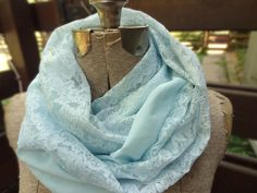 Vintage blue lace infinity scarf by PaleDesign on Etsy, $29.00