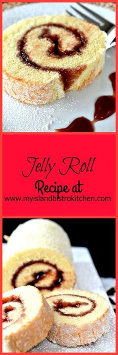 Yummy sponge cake jelly roll with a filling of your favorite red jelly or jam
