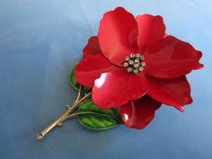 Bright Red Enamel and Rhinestone Flower Pin Brooch