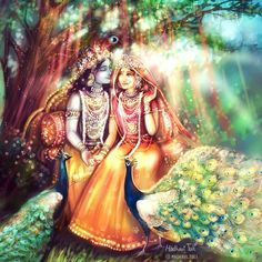 Shri Radha closed her eyes, breathing in the air, fragrant from innumerable flowers. This divine air, giving the highest liberation and… Radha Krishna Pictures, Radha Krishna Photo, Krishna Photos, Krishna Art, Hare Krishna, Krishna Leela, Jai Shree Krishna, Krishna Drawing, Krishna Painting