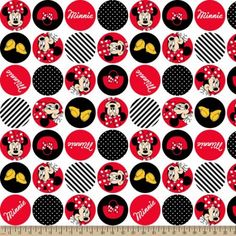 "Disney Minnie Mouse Dot Icons Fleece, White, 59/60"" Wide Fabric by the Yard"