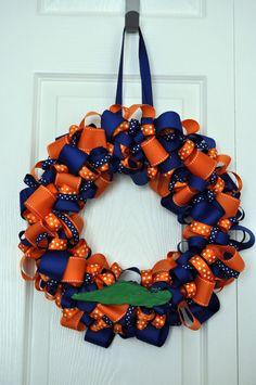 Blue and Orange Gator Ribbon Wreath Chomp Chomp by framedletterart, $65.00