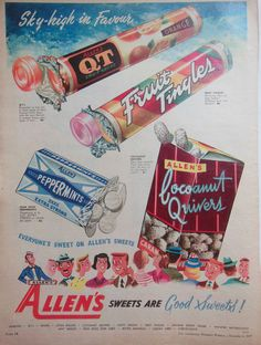 Old Allens sweets ad from 1957 Women's Weekly Magazine 1950s Advertising, Old Advertisements, Print Advertising, Pub Vintage, Vintage Candy, Vintage Signs, Vintage Stuff, Retro Recipes, Vintage Recipes