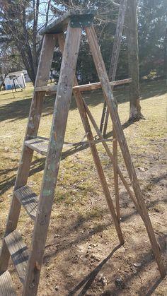 Vintage Painters Ladder, 5 Rung Ladder, Tall Ladder, Old, Antique, Step Wood Metal Ladder, Farmhouse Antiques, Wedding Decor, Folding  79 by RENPECKEDFARMHOUSE on Etsy https://www.etsy.com/listing/507929638/vintage-painters-ladder-5-rung-ladder