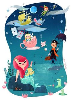 Disney Fun by Joey Chou. This is why I heart Joey Chou. Disney Pixar, Disney Animation, Disney Magic, Disney Amor, Film Disney, Arte Disney, Disney Dream, Disney And Dreamworks, Disney Love