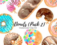 Donuts Clip Art - Watercolor Clip Art - Food Clip Art Set - Cafe Clip Art - Commercial Use
