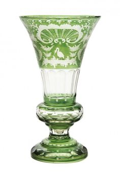 Bohemian Green Cut to Clear Glass Trumpet Vase
