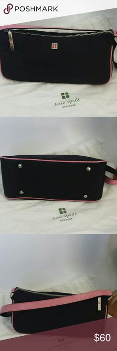 """Authentic Kate Spade New handbag Kate spade nylon Karung shoulder bag. Pink leather trims and a pink snake print strap. Zipper closure and polka dot print inside. Measures 10x4x3.5 strap drop is 9"""". This bag is new never used and comes with dust bag. kate spade Bags Shoulder Bags"""