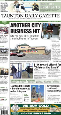 The front page of the Taunton Daily Gazette for Tuesday, Jan. 13, 2015.