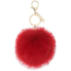 L.K. Bennett Ivy Red Faux Fur Pom-Pom Key Chain (£25) ❤ liked on Polyvore featuring accessories, fillers, red, pom pom key chain, key charm, fob key chain, key chain charms and key chain