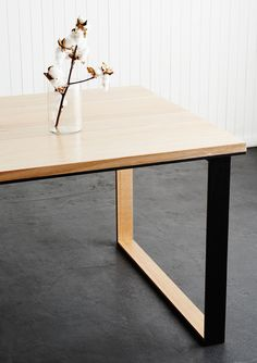 The Black Metal Dining Table, designed by Melbourne-based Porktown MFG uses recycled Messmate timber & a box legged steel base. Australia-wide shipping.
