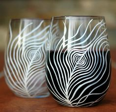 White Peacock Feather Stemless Wine by MaryElizabethArts $30.00
