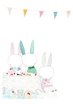 Happy Birthday Rabbits - Pink and Green - The Party