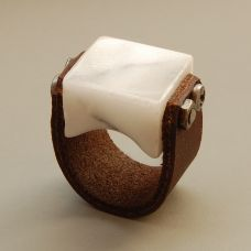 Marble & Leather Ring by Blind Spot Jewelry