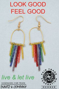 These gorgeous ethically made rainbow fringe earrings are perfect for your 60s style of gay pride aesthetic. Retro earrings are a perfect addition to celebrate the LGBTQ community or just embrace your festival style. Like all of our fair trade jewelry, these earrings are handmade in Guatemala. These are made with Czech glass beads.
