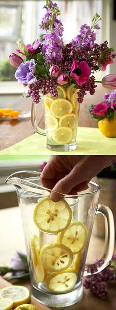 Colorful flower arrangement– put a container inside a vase to hold lemon slices in place... Fill the whole thing with water.