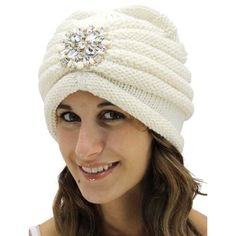 White Knit Turban With Beaded Broach ($26) ❤ liked on Polyvore featuring accessories, hats, white, beaded hat, white knit hat, bead caps, knit turban and caps hats