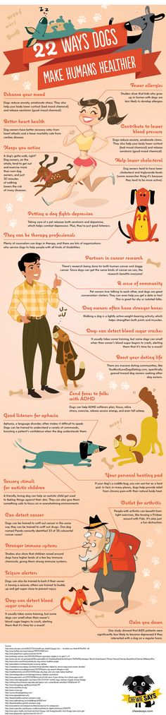 22 ways dogs make humans healthier #dogs #infographic #health