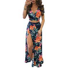 Deep V-neck Short Sleeve Crop Tops + High-split Long Skirt Set