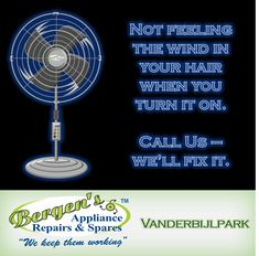 We have the parts to repair your electric fan. Fixing your current appliance reduces your carbon footprint.  #wekeepthemworking #bergensappliances #appliancerepairs #applianceparts #wefixappliances #electricfan #quote #southafrica #inthekitchen #bergensvanderbijlpark  Follow us on Instagram and Pinterest Contact:  076 960 6467 Email:   vanderbijlpark@bergens.co.za