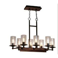 Luminaire suspendu de forme rectangle en bois, pin foncé avec métal bronze.