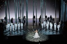 Lady Gaga performed a Sound of Music tribute medley at 87th Annual Academy Awards at Dolby Theatre, with lighting design by Robert Dickinson and production design by Derek McLane http://livedesignonline.com/staging-rental/oscars-scenes-87th-academy-awards#slide-13-field_images-112441