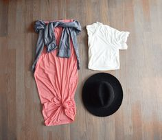 Coral Stripe Maxi Skirt