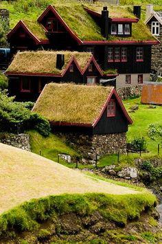 Faroe Islands, Denmark.. love the half wood half brick walls!! and the turf roofs!!!