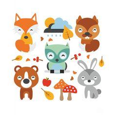 zwierzeta-lesne-naklejki-dekoracyjne-do-pokoju-dzieciecego.jpg (800×800)