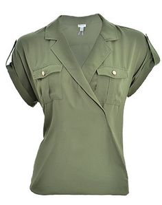 Dynamite Wrap Blouse in an amazing military green with gold accented buttons! Drapes beautifully!