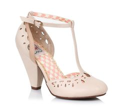 Bettie Page Nude Closed Toe Cut Out T-Bar Shoes – Pretty Kitty Fashion