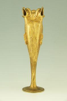 Art Nouveau gilt pewter fish vase by Hermann Gradl for Osiris, Germany, 1900.