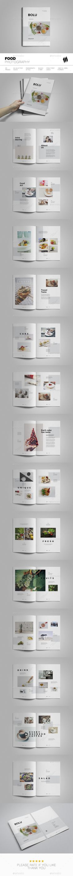 Food Photography Brochure Design Template - Brochures Print Template InDesign INDD. Download here: https://graphicriver.net/item/food-photography/19139355?ref=yinkira