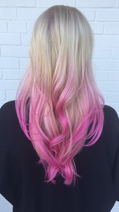 Blonde with pink ombré