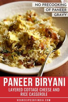 Paneer Biryani Recipe with step by step photos. This is a mildly spiced and delicately flavored dum cooked layered paneer biryani. Paneer Recipes, Veg Recipes, Indian Food Recipes, Vegetarian Recipes, Cooking Recipes, Punjabi Recipes, Yummy Recipes, Snack Recipes, Paneer Biryani