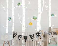 Birch Tree Wall Decal  Best Seller  5 Birch Trees and Owls