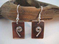 Mixed metal earrings copper & sterling swirl double by RustyWing, $25.00