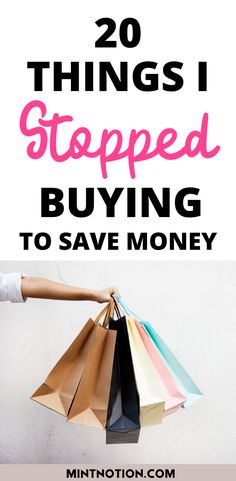 How to stop buying things. Here's a list of 20 things I quit buying to save money. Tips to help you stop buying too much stuff or things you don't need. Life On A Budget, Debt Free Living, Paying Off Student Loans, Create A Budget, I Quit, Saving For Retirement, Frugal Living Tips, Love Your Life, Money From Home