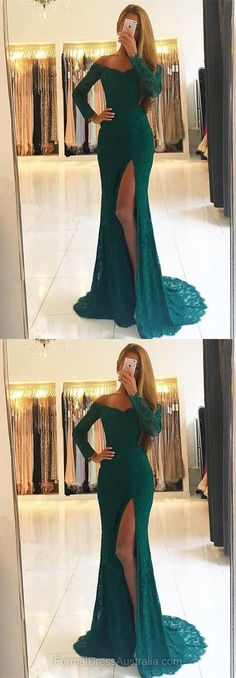 Long Formal Dresses Green, Lace Formal Dress, Off-the-shoulder Evening Dresses, Train Party Dresses