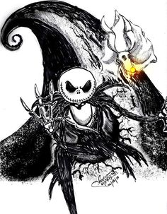 Nightmare Before Christmas~ Jack together with his dog Zero used: Faber-Castell F Multimark 1513 permanent and thick permanent marker and photoshop