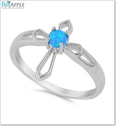 Cross Ring Solid 925 Sterling Silver Turquoise Lab Created Australian Blue Opal Sideways Cross Ring Religious Gift