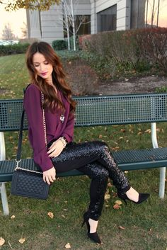 Kiss Me Darling sequin joggers, purple blouse, holiday outfit