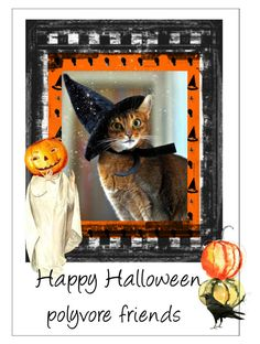 """Halloween cat"" by elaine136 ❤ liked on Polyvore featuring art"