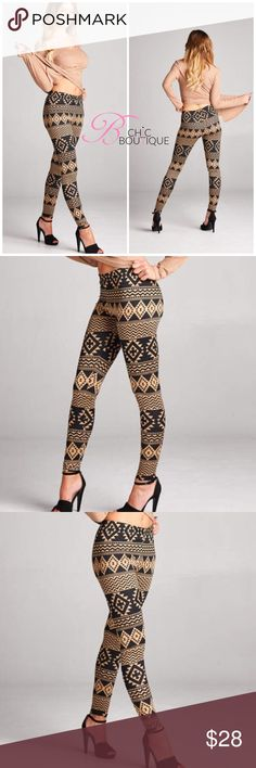 🆕 Suede Brushed Boho Printed Leggings Suede brushed printed leggings. Perfect to pair with ribbed top also available in my closet. Made of polyester/ spandex blend. For measurements please see chart above. MADE IN USA Bchic Pants Leggings